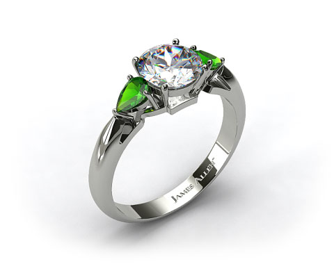 18k White Gold Three Stone Pear Shaped Emerald Engagement Ring